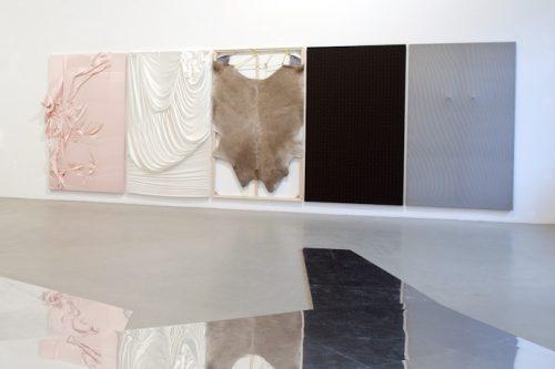 Aldona Kut, Aussenfutter (installation view), 2010, Material, Silk, Fur, Rubber, Wooden frame, 350 x 770 cm