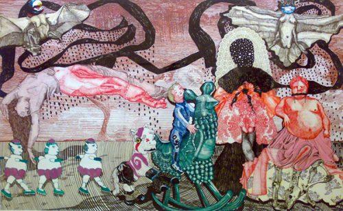 Renz Cornelia, body of evidence, 2009, Pigmentstift auf Acryl und Hartschaumplatte, 190 x 300 x 8 cm